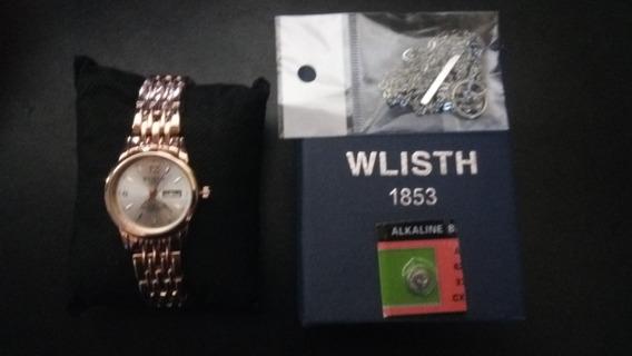 Relógio Feminino Dourado Wlisth A Prova D
