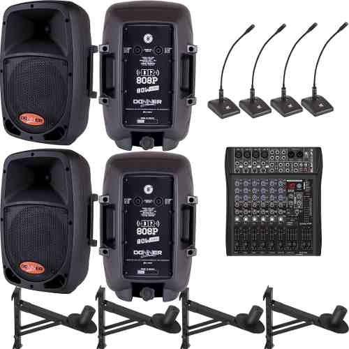 Mesa Som 2 Caixas Ativa 2 Passivas 4 Microfones De Mesa Nca