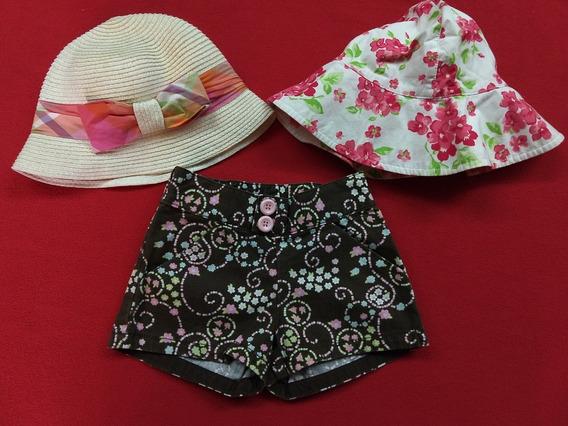 Lote De Short Y 2 Sombreros Nena 2 Años. Importados.