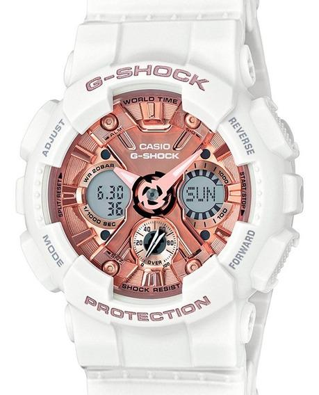 Relógio Casio Feminino G-shock Branco/rosa Gma-s120mf-7a2dr