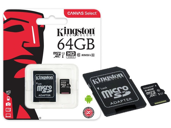 Cartao De Memoria Classe 10 Kingston Sdcs 64gb Micro Sdxc 64
