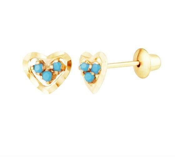 Brinco Coração De Ouro 18k Diamantado E Pedras Azul Turq G03