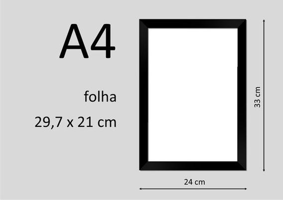 Moldura; Kit C/ 5 Und Tam A4 = 21x30cm Preta C/ Acrilico