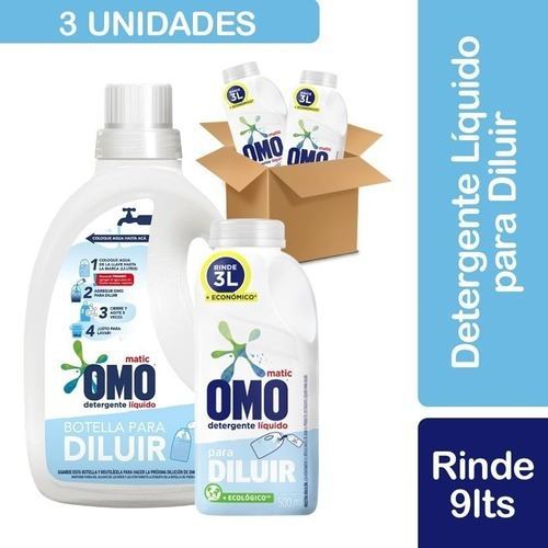 3 Detergente Omo Líquido Para Diluir 500ml + Botella