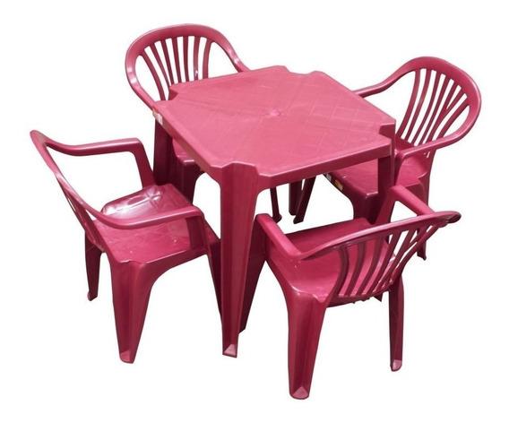 Conjunto Mesa E 4 Cadeiras Poltrona Plastico Vinho 5 Jogos