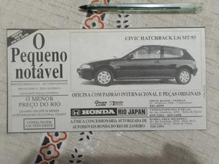 Recorte Jornal Propaganda Honda Civic Hatchback Lsi Mt 93