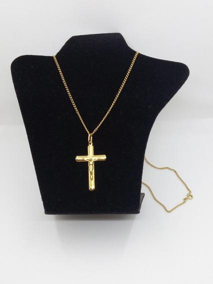 Cordão Corrente + Crucifixo Em Ouro 18 K 72,0 Cms. 11 Gramas