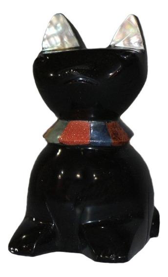 Figura De Gato De Obsidiana, Piedra Ágata Y Concha