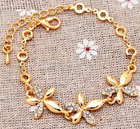 Pulseira De Flores Banhada A Ouro 18k