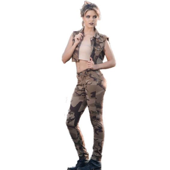 Calça Skinny Camuflada Cintura Alta Colada Estilo Militar