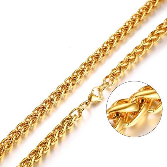 Corrente Cordão Masculino Trança 60cm 6mm Aço Banhado A Ouro