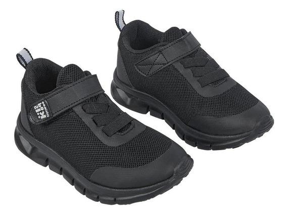Zapato Tenis Niño Monocolor Negro Deportivo Con Agujetas Y C