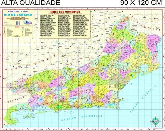 Mapa Do Estado Rio De Janeiro Politico 90 X 120 Cm Atual