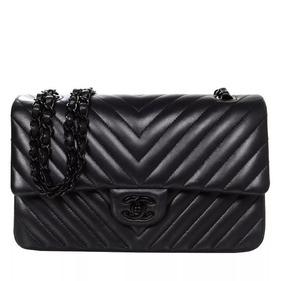 Bolsa Chanel 2.55 Chevron All Black Double Flap
