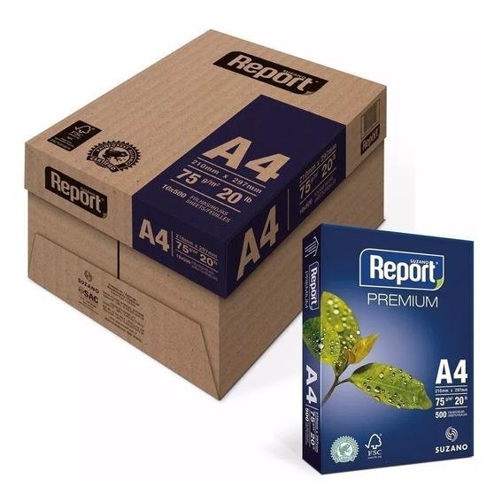 Papel Sulfite Report A4 75gr Caixa Com 5000 Folhas 10 Resmas