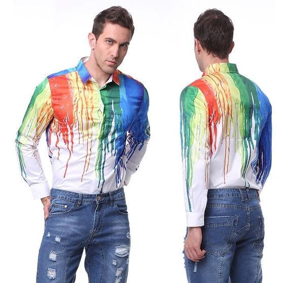 Camisa Hombre 3d Estampado Brillante Playera Caballero Moda