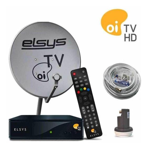 Kit Receptor Oi Tv Livre Elsys Antena Ku Cabo Lnbf Completo