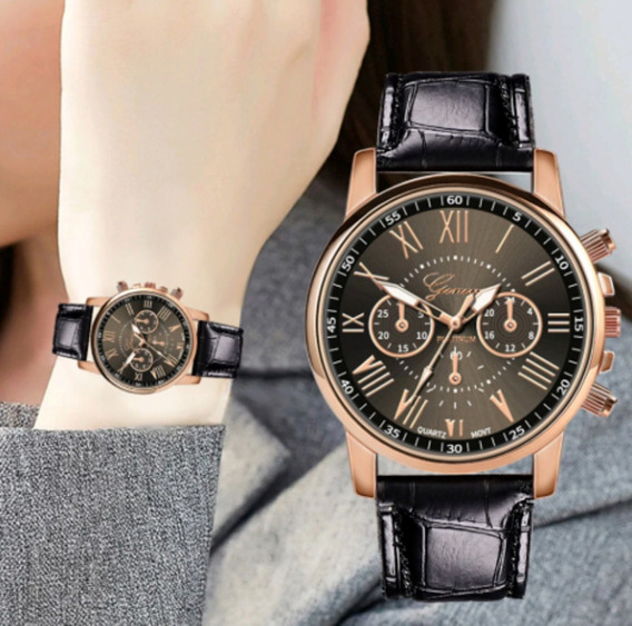 Relógio Feminino Importado Geneva Puseira Couro Barato Luxo