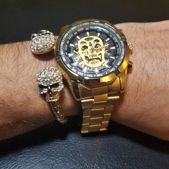 Reloj Mecanico Skull Calavera Dorado Skeleton + Pulsera Doub