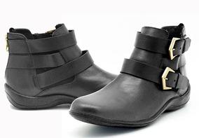 Bota Feminina Cano Curto Sapato Casual Couro Legitimo Luxo