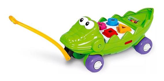 Brinquedo Jacare Didatico Verde Com Rodas Poliplac Educativo