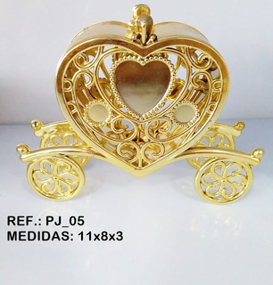 10 Carruagem Coração Dourada - Lembrancinhas - Festa