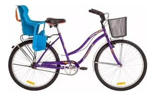 Bicicleta Halley Rodado 26 Playera Dama Con Sillita Par Bebe