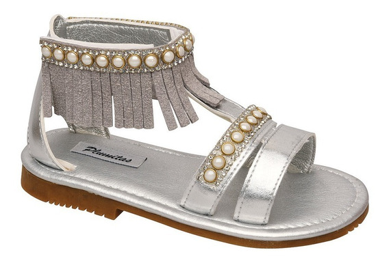 Sandalia Plumitas Tanger Para Niña Plata Con Perlas Y Flecos