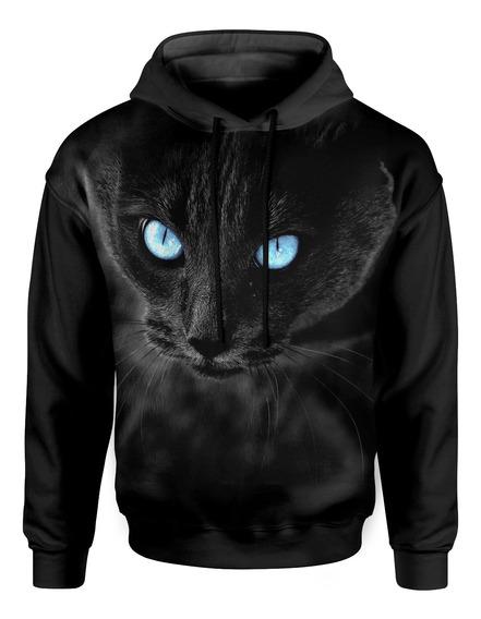 Moletom Com Capuz Unissex Big Face Gato Negro Md01