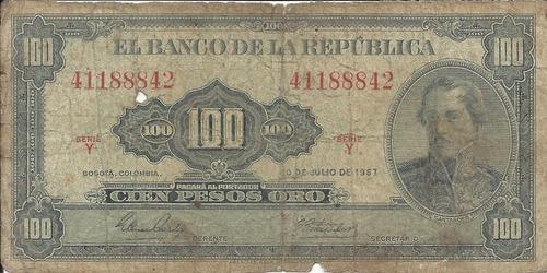 Imagen 1 de 2 de Colombia 100 Pesos Oro 20 De Julio 1967