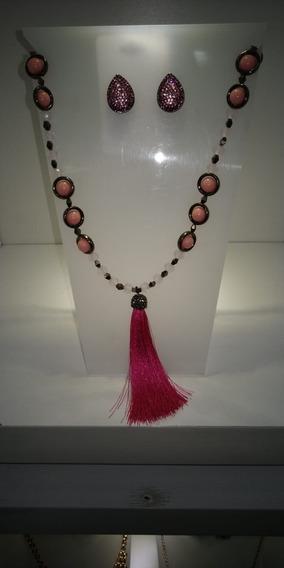 Conjunto Brinco Brilhante Rosa + Colar Pedras Rosas+pingente