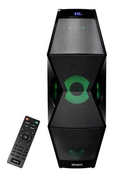 Caixa De Som Aiwa Com Bluetooth/auxiliar/usb/fm/iluminação Led - Preto 100wats