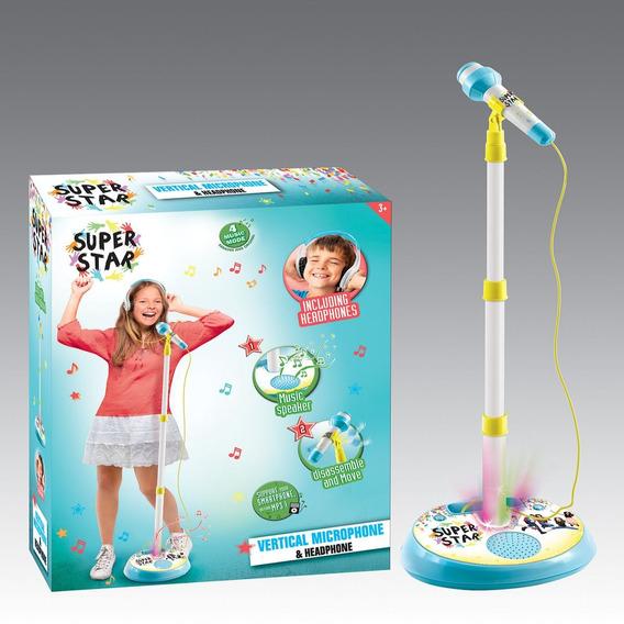 Microfone Headphone Karaoke Luz Som Mp3 Infantil