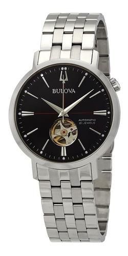 Relógio Bulova Masculino Automático 96a199 Esqueleto Aço