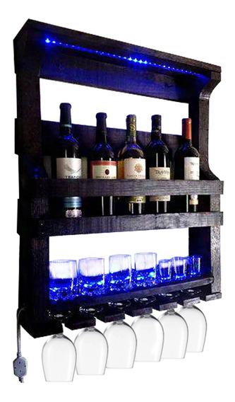 Bar De Parede Adega Artesanal Led Até 5 Garrafas Art Madeira