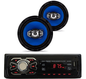 Kit Som Carro Radio Mp3 Bluetooth Usb + 2 Auto Falante 6 Pol