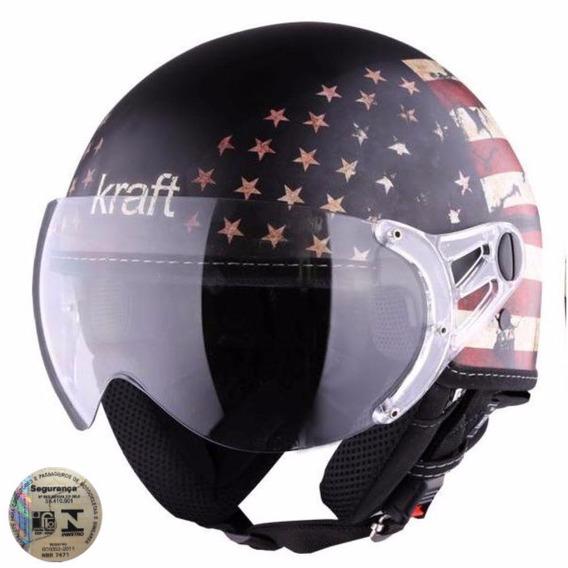 Capacete Kraft Plus Bandera Usa Estados Unidos Harley Custom