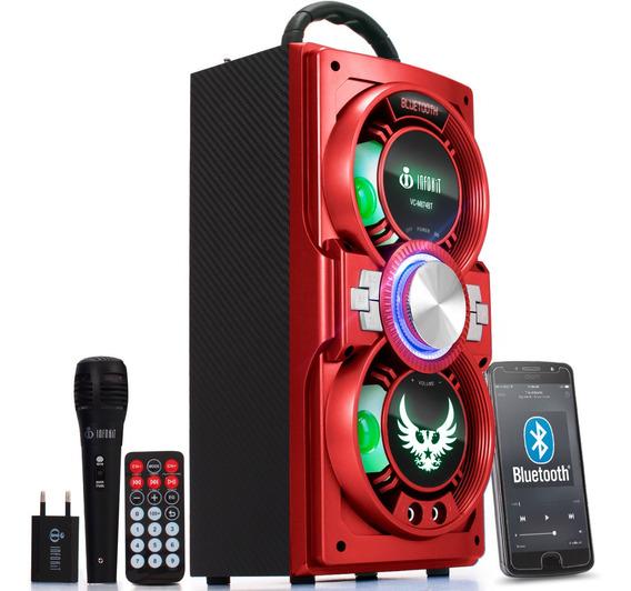Caixa De Som Bluetooth Portatil Amplificada Potente Aux P2 Fm Sd Recarregável Microfone Grátis