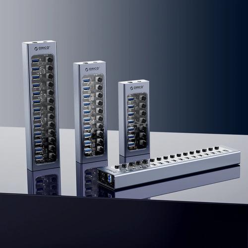 Hub Orico 7 Portas Transparente + Aluminum At2u3 5gbps 12v