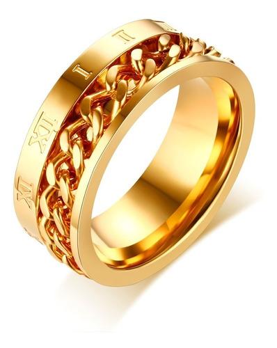 Anillo Acero Inoxidable Color Oro Números Romanos Hombre