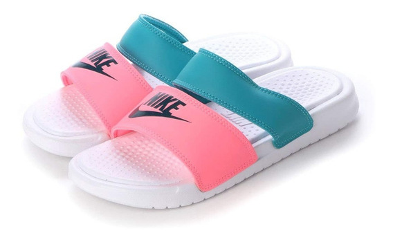 Sandalia Nike Benassi Duo Celeste Rosa As 23-26 Originales