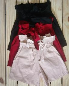 Short Bengaline Cintura Alta Roupas Femininas