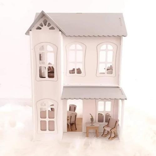 Casita De Muñecas Tamaño Lol, Pintada Con 26 Muebles Y Deco