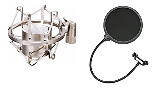 Shock Mount Metal Suporte Aranha Microfone Com Pop Filter
