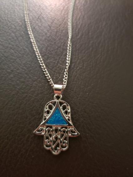 Collar, Mano De Fatima, Acero Inox., Azul, O Rojo