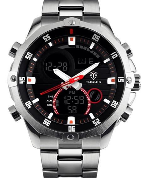 Relógio Masculino Original Tuguir Anadigi Tg1146 Prata Preto