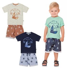 Conjunto Infantil Bebê Menino Camiseta Bermuda Moletom K4901