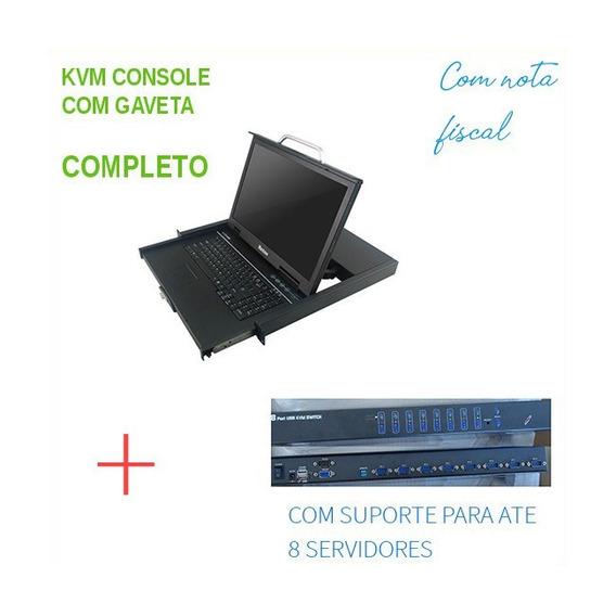 Kvm 8 Portas Painel Lcd 17 Para Servidores Hp Micros C/ Nf-e