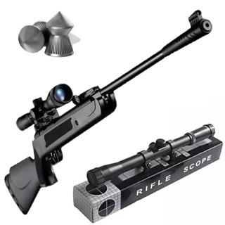 Rifle Aire Comprimido 5.5 Lb600 + Mira + 500 Balines Caza