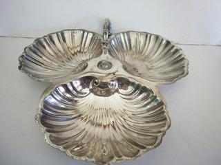 Dulcero-frutero De Bano Plata Vintage En Forma 3 Conchas